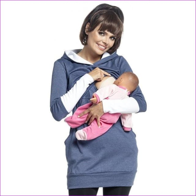 Maternity Pregnant Women Nursing Long Sleeve Breastfeeding Hoodie Autumn Winter Tops Jumper Top Pullover Casual Sweatshirts 2XL - Blue / S -