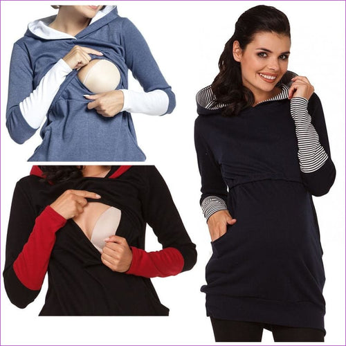 Maternity Pregnant Women Nursing Long Sleeve Breastfeeding Hoodie Autumn Winter Tops Jumper Top Pullover Casual Sweatshirts 2XL - Maternity