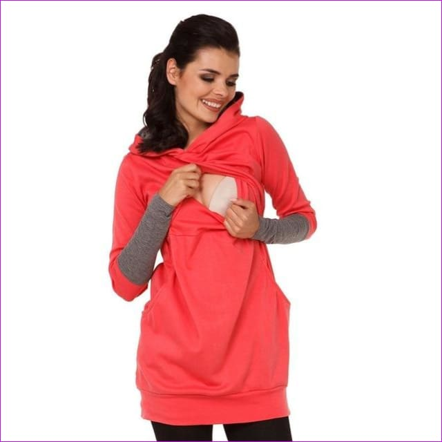 Maternity Pregnant Women Nursing Long Sleeve Breastfeeding Hoodie Autumn Winter Tops Jumper Top Pullover Casual Sweatshirts 2XL - Red / S -