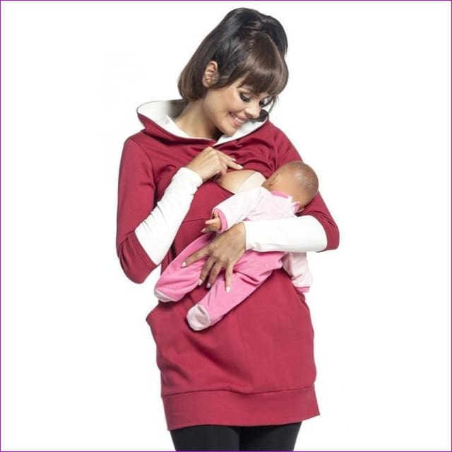 Maternity Pregnant Women Nursing Long Sleeve Breastfeeding Hoodie Autumn Winter Tops Jumper Top Pullover Casual Sweatshirts 2XL - Wine / S -