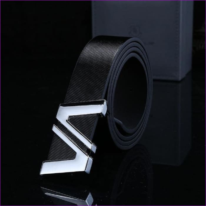 Men Automatic Letter Buckle Leather Waist Strap Belts Buckle Belt cintos masculinos de couro luxo - Black / China / 110cm - Mens Belts