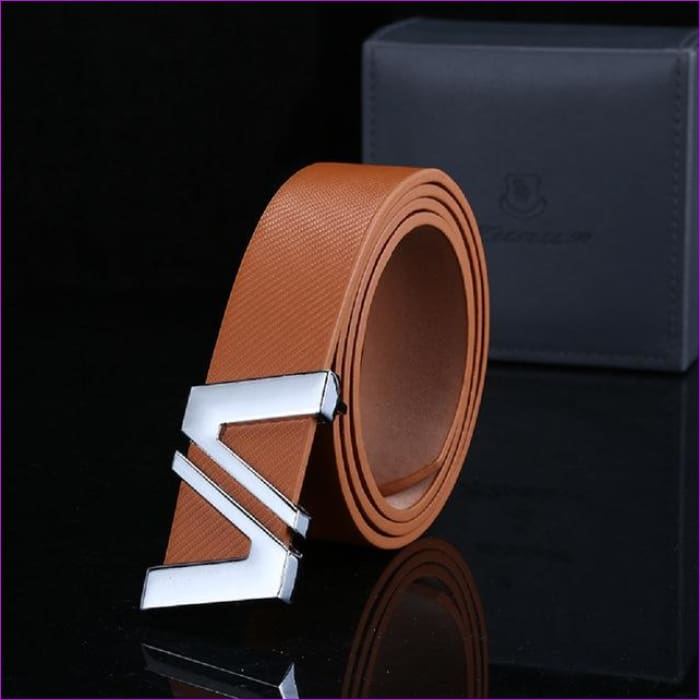 Men Automatic Letter Buckle Leather Waist Strap Belts Buckle Belt cintos masculinos de couro luxo - Brown / China / 110cm - Mens Belts