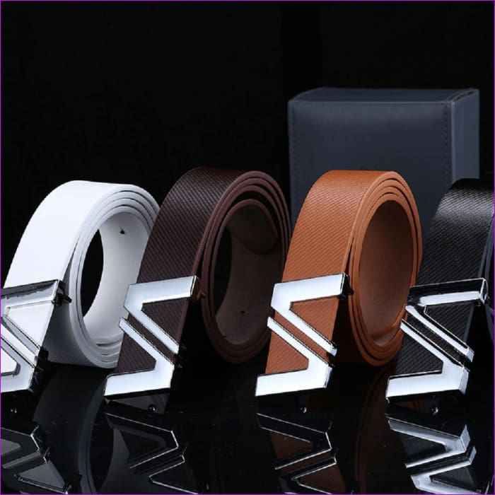 Men Automatic Letter Buckle Leather Waist Strap Belts Buckle Belt cintos masculinos de couro luxo - Mens Belts cf-color-black cf-color-brown