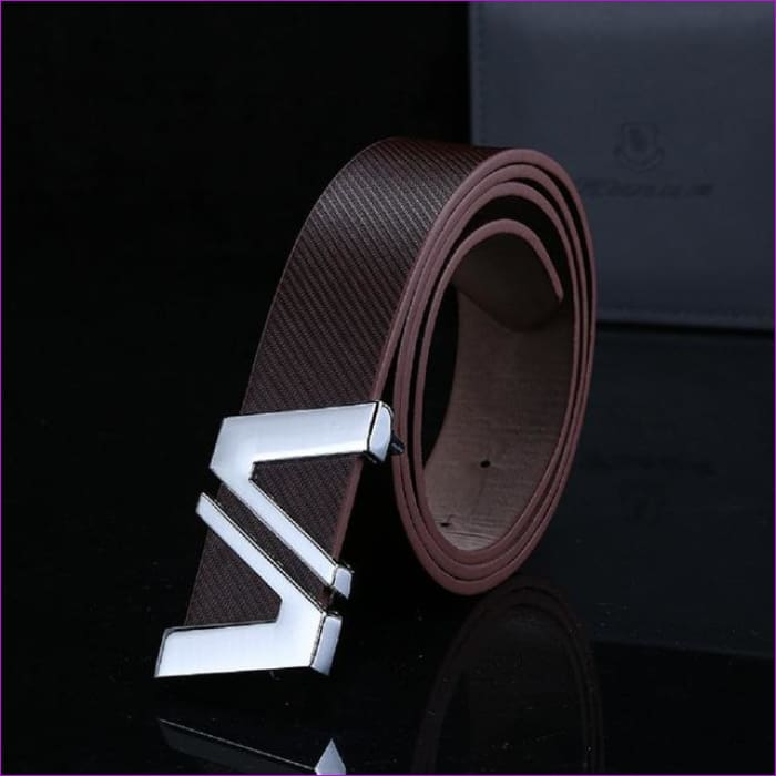 Men Automatic Letter Buckle Leather Waist Strap Belts Buckle Belt cintos masculinos de couro luxo - Coffee / China / 110cm - Mens Belts