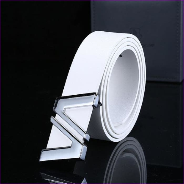 Men Automatic Letter Buckle Leather Waist Strap Belts Buckle Belt cintos masculinos de couro luxo - White / China / 110cm - Mens Belts