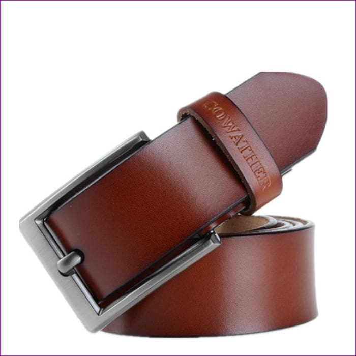 Men s belt cow genuine leather luxury strap male belts for men new fashion classic vintage pin buckle - brown / 105cm - Mens Belts
