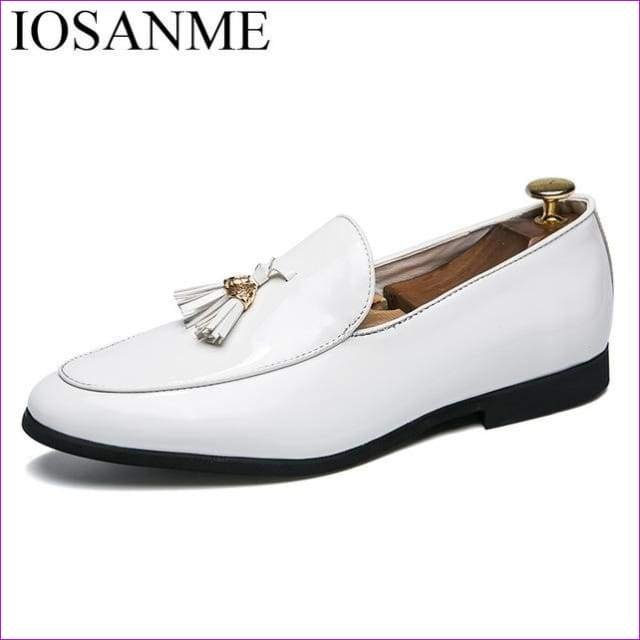 Mens flats glossy dress male footwear Tassel patent leather shoes - White / 6.5 - Mens Shoes