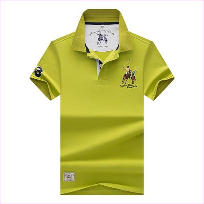 Mens Polo shirts Business men brands Polo Shirts 3D embroidery Turn-down collar mens polo shirt - 9099 Apple green / XL - Mens Polo Shirts