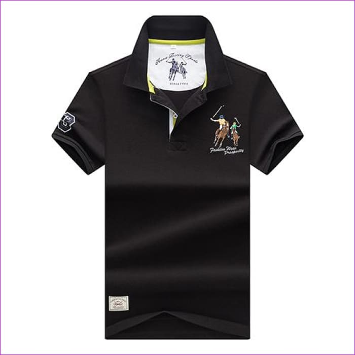 Mens Polo shirts Business men brands Polo Shirts 3D embroidery Turn-down collar mens polo shirt - 9099 black / XL - Mens Polo Shirts