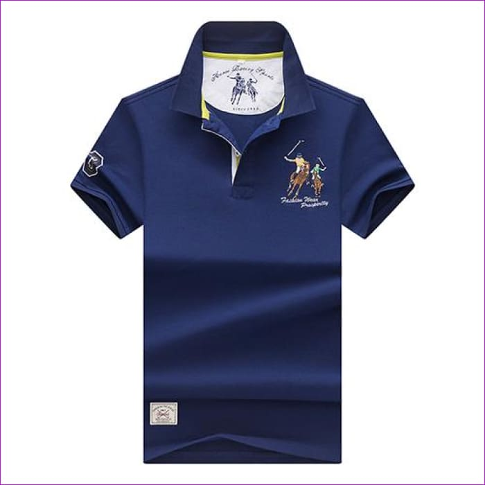 Mens Polo shirts Business men brands Polo Shirts 3D embroidery Turn-down collar mens polo shirt - 9099 blue / XL - Mens Polo Shirts