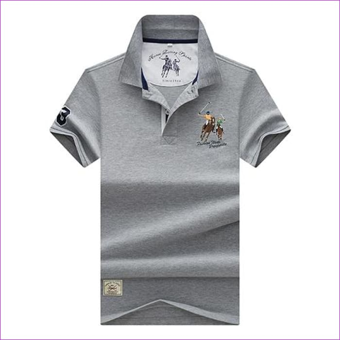 Mens Polo shirts Business men brands Polo Shirts 3D embroidery Turn-down collar mens polo shirt - 9099 gray / XL - Mens Polo Shirts