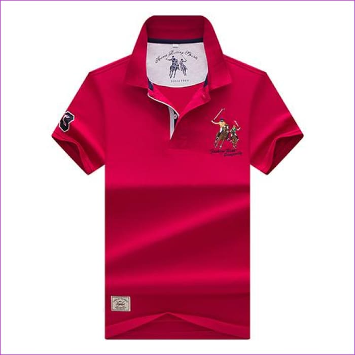 Mens Polo shirts Business men brands Polo Shirts 3D embroidery Turn-down collar mens polo shirt - 9099 red / XL - Mens Polo Shirts