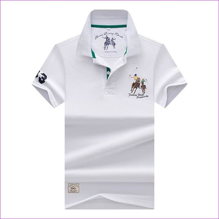 Mens Polo shirts Business men brands Polo Shirts 3D embroidery Turn-down collar mens polo shirt - 9099 white / XL - Mens Polo Shirts