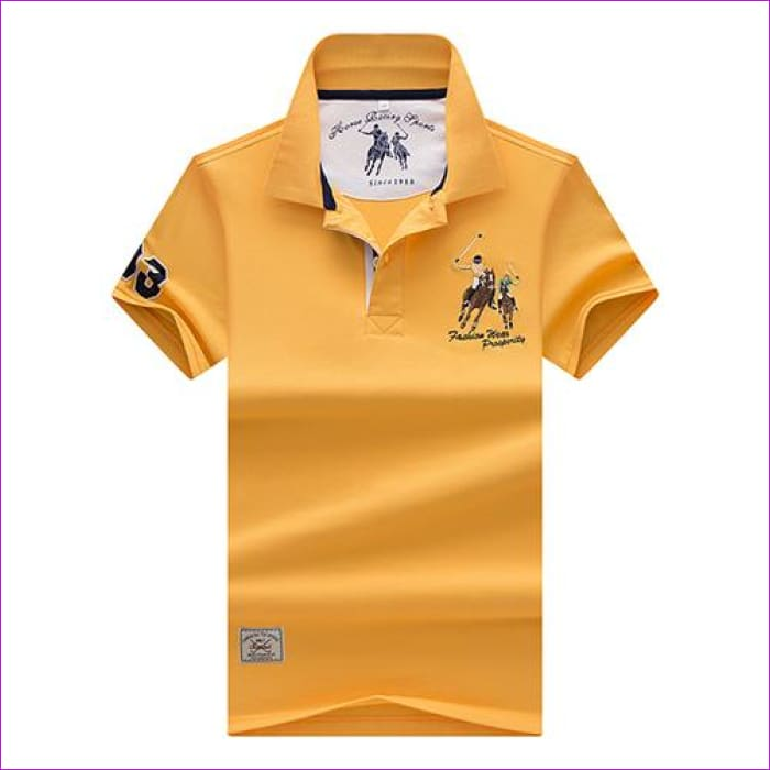 Mens Polo shirts Business men brands Polo Shirts 3D embroidery Turn-down collar mens polo shirt - 9099 yellow / XL - Mens Polo Shirts
