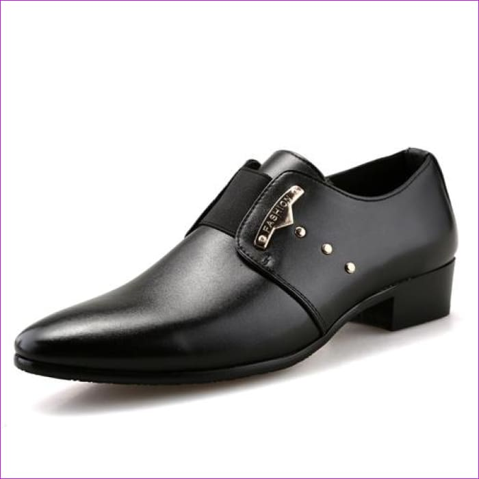 Mens Slip-On Shoes PU Leather Brown Black Elastic Band Men Dress Shoes Office Wedding Shoes - Black / 6.5 - Mens Shoes cf-color-black