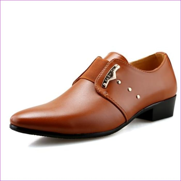 Mens Slip-On Shoes PU Leather Brown Black Elastic Band Men Dress Shoes Office Wedding Shoes - Brown / 6.5 - Mens Shoes cf-color-black