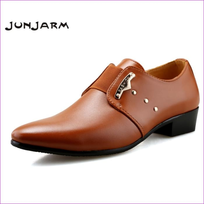Mens Slip-On Shoes PU Leather Brown Black Elastic Band Men Dress Shoes Office Wedding Shoes - Mens Shoes cf-color-black cf-color-brown Mens