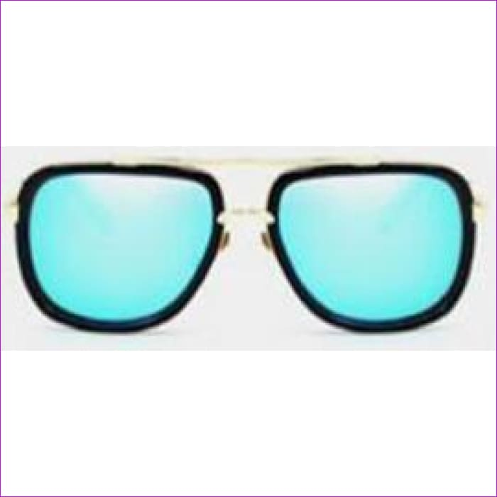 MERRYS Fashion Men Sunglasses Classic Women Brand Designer Metal Square Sun glasses UV400 - C06 Black Blue - Mens Sunglasses Mens Sunglasses