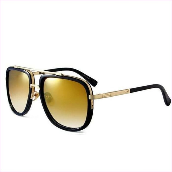 MERRYS Fashion Men Sunglasses Classic Women Brand Designer Metal Square Sun glasses UV400 - C12 Black Gold - Mens Sunglasses Mens Sunglasses