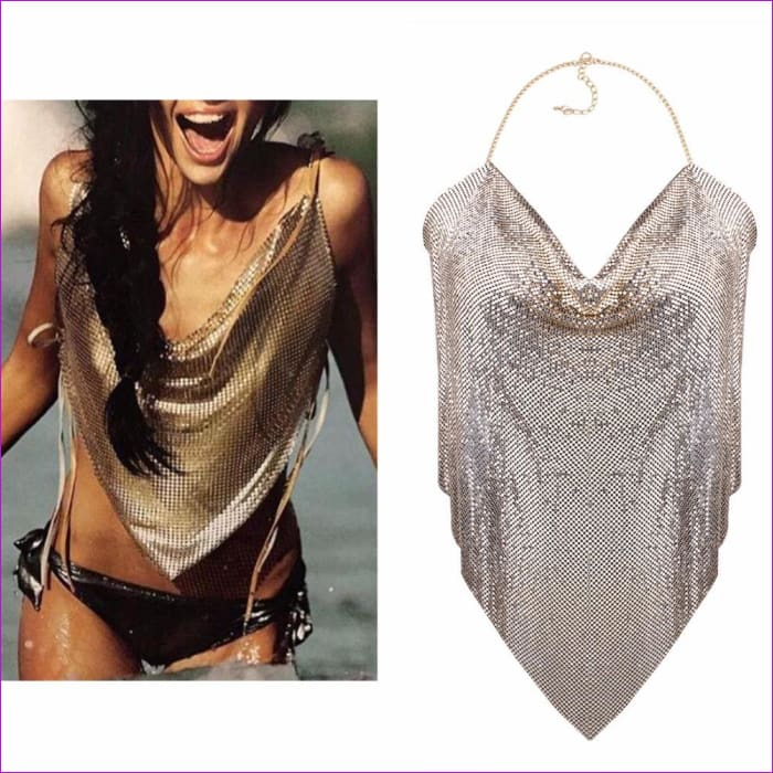 Metal Mesh Body Chain Maxi Jewelry Shiny Sequins Bra Body Jewelry Women bodychain big statement jewelry - Body Jewelry