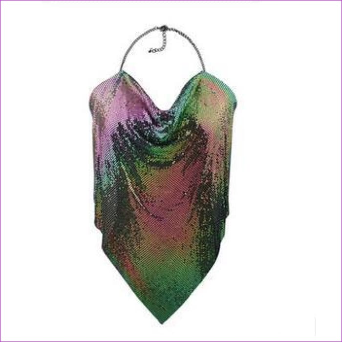 Metal Mesh Body Chain Maxi Jewelry Shiny Sequins Bra Body Jewelry Women bodychain big statement jewelry - purple - Body Jewelry