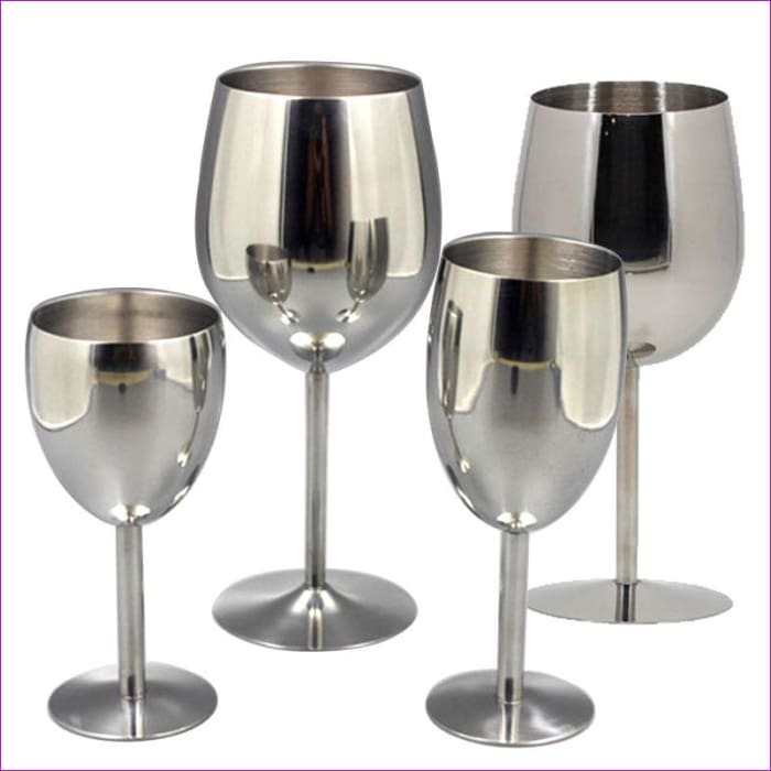Metal Wineglass Bar Wine Glass Champagne Cocktail 2Pcs Wine Stainless Steel 18/8 - Wine Glasses Wine Glasses