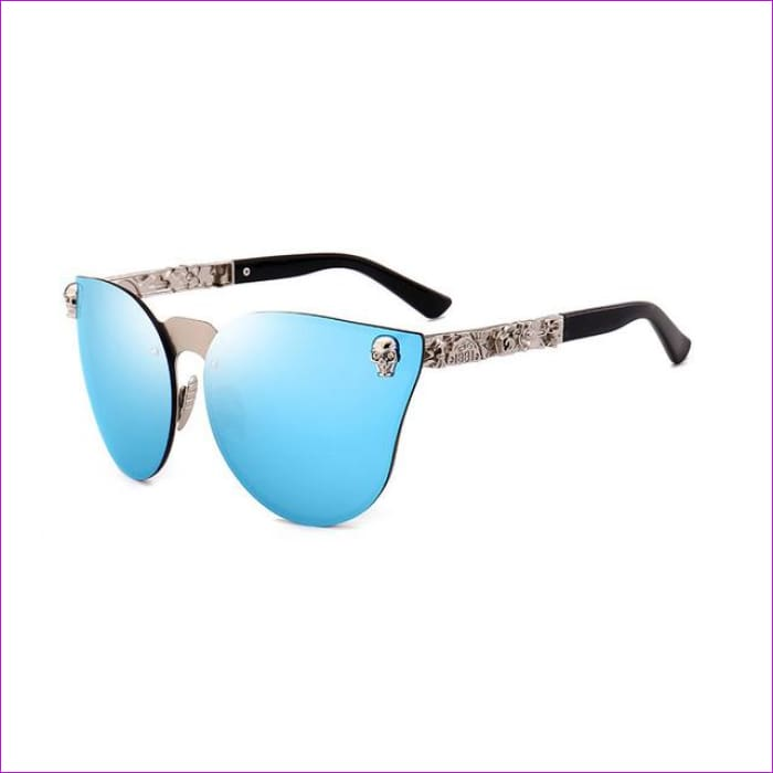 Mirror Tinted Cat Eye Mirror Sunglasses Retro Shades UV400 - Blue Mirror - Sun Glasses Sun Glasses