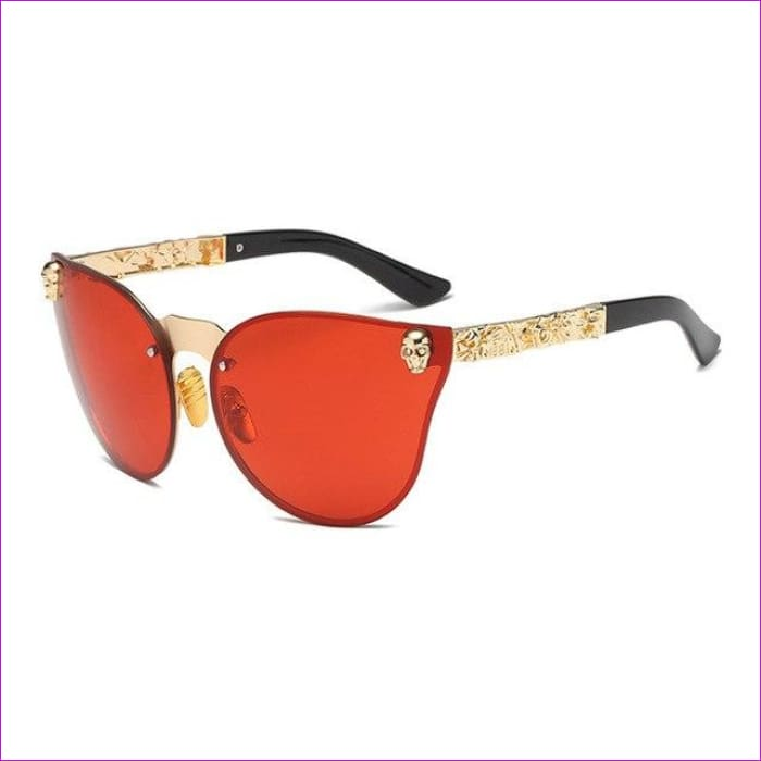 Mirror Tinted Cat Eye Mirror Sunglasses Retro Shades UV400 - Clear Red - Sun Glasses Sun Glasses