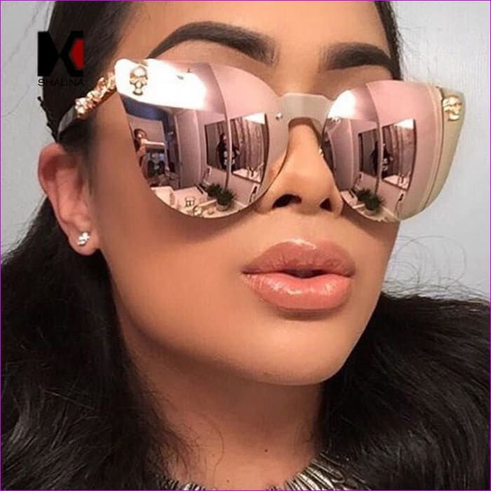 Mirror Tinted Cat Eye Mirror Sunglasses Retro Shades UV400 - Sun Glasses Sun Glasses