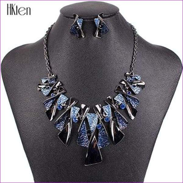 MS17316 Hot Sale Brand Jewelry Sets Classic Design Bridal Jewelry Womans Necklace Set High Quality 5 Colors Party Gifts - Blue - Jewelry