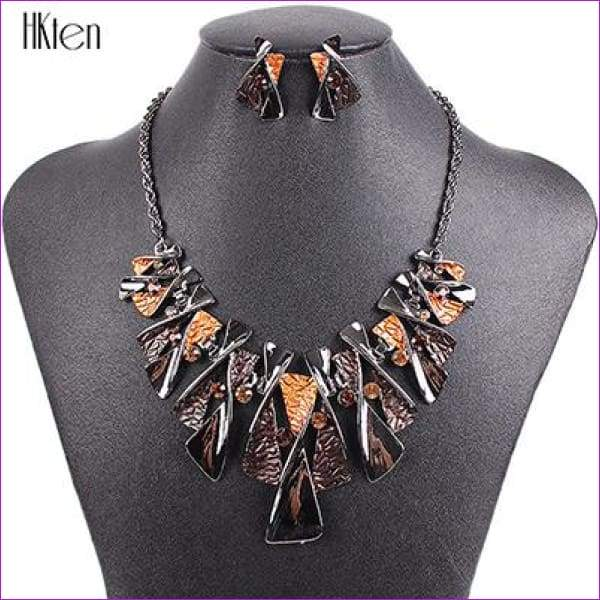 MS17316 Hot Sale Brand Jewelry Sets Classic Design Bridal Jewelry Womans Necklace Set High Quality 5 Colors Party Gifts - Brown - Jewelry