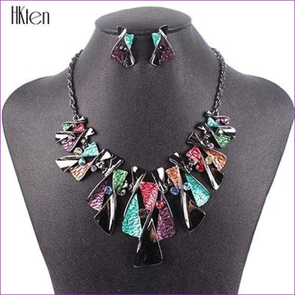 MS17316 Hot Sale Brand Jewelry Sets Classic Design Bridal Jewelry Womans Necklace Set High Quality 5 Colors Party Gifts - Multicolor -