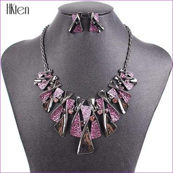 MS17316 Hot Sale Brand Jewelry Sets Classic Design Bridal Jewelry Womans Necklace Set High Quality 5 Colors Party Gifts - Purple - Jewelry