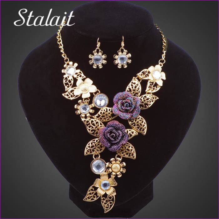 Multilayer Gold Color Purple Crystal Rhinestone Leave Necklaces Jewelry Set - Jewelry Sets