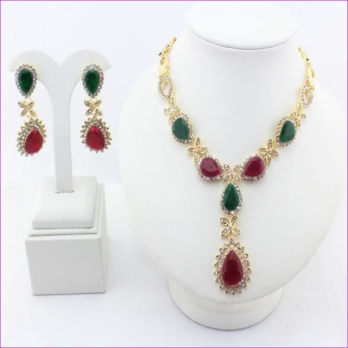 Necklace Earrings sets gold-color Wedding jewelry sets Valentines Day Party Gift - 1 - Jewelry Sets