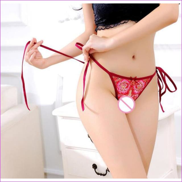 New Arrival Sexy Exotic Novelty Embroidery Open Crotch Crotchless Panties Brief G String V String Panties Brief Underwear WP329 - Red / One
