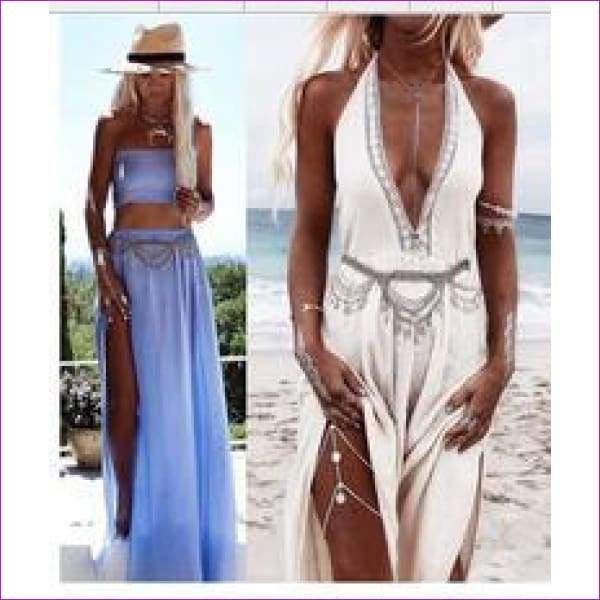 New Boho Summer Beach Women Gypsy Silver Gold Punk Link Chain Belly Dance Body Sexy Biniki Leaf Tassel Belt Waist Body Jewelry - Silver