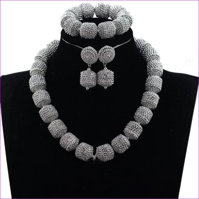 New Design Silver/Gold Beads Jewelry Set Women African Fashion Jewelry Accessory Nigerian Wedding Beads Set QW1184 - 1 - Jewelry Sets