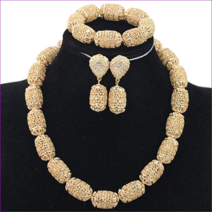 New Design Silver/Gold Beads Jewelry Set Women African Fashion Jewelry Accessory Nigerian Wedding Beads Set QW1184 - 3 - Jewelry Sets