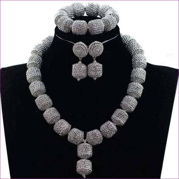 New Design Silver/Gold Beads Jewelry Set Women African Fashion Jewelry Accessory Nigerian Wedding Beads Set QW1184 - 4 - Jewelry Sets