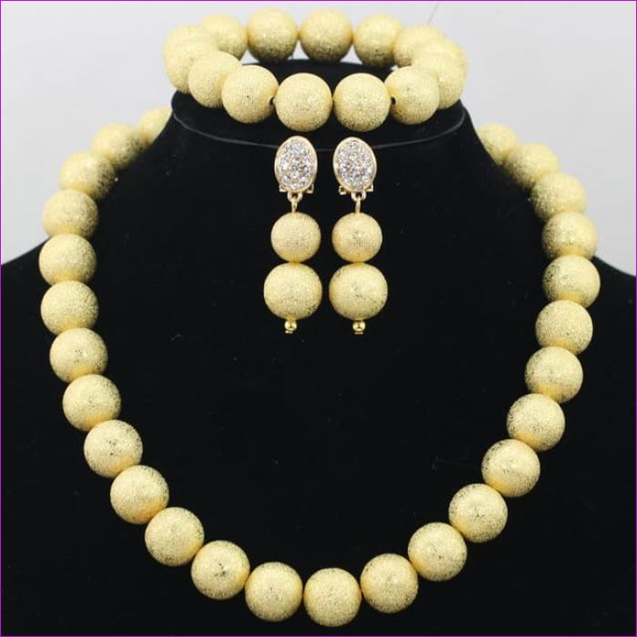 New Design Silver/Gold Beads Jewelry Set Women African Fashion Jewelry Accessory Nigerian Wedding Beads Set QW1184 - 6 - Jewelry Sets