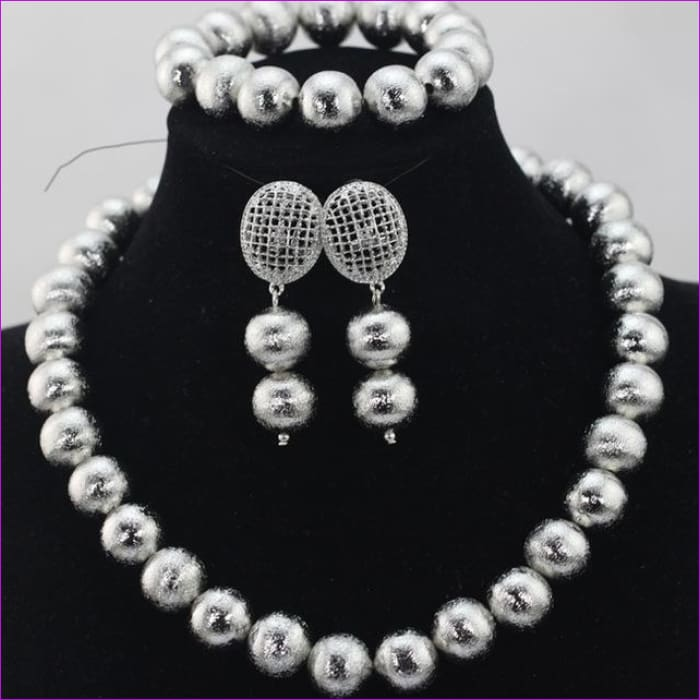 New Design Silver/Gold Beads Jewelry Set Women African Fashion Jewelry Accessory Nigerian Wedding Beads Set QW1184 - 7 - Jewelry Sets