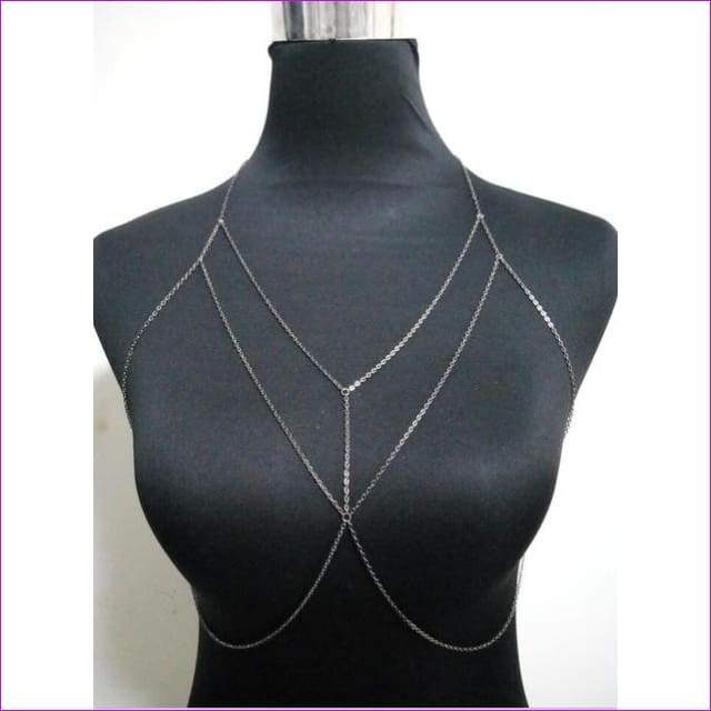 New Style Fashion Women Gold colour Chains Sexy Bra Bikini Chains Jewelry 3 Colors WRB32 - GRAY CHAINS - Body Jewelry