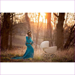 New Style Maternity photography props maxi Maternity gown Cotton Maternity Dress Maternity Fancy Photo Shooting pregnant dress - Blue / S -