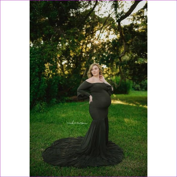 New Style Maternity photography props maxi Maternity gown Cotton Maternity Dress Maternity Fancy Photo Shooting pregnant dress - Green / S -