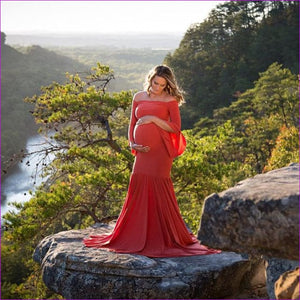 New Style Maternity photography props maxi Maternity gown Cotton Maternity Dress Maternity Fancy Photo Shooting pregnant dress - Red / S -