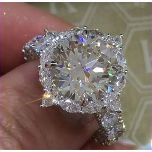Newest Sparkling luxury Flower ring 3ct AAAAA CZ Zircon 925 Sterling silver jewelry Engagement Wedding Band Rings for women - Womens Rings