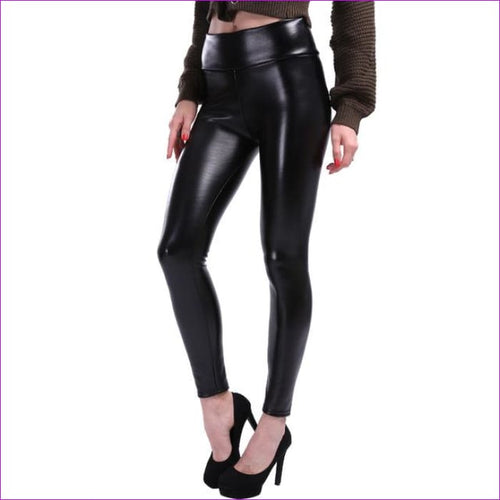 NORMOV S-5XL Plus Size Leather Leggings Women High Waist Leggings Stretch Slim Black Legging Fashion PU Leather Pants Women - Black / XXL -