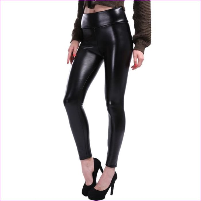 638ae348c8019 NORMOV S-5XL Plus Size Leather Leggings Women High Waist Leggings Stretch  Slim Black Legging