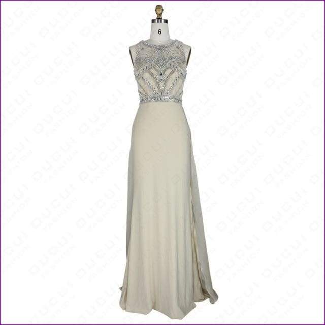 Nude Color Tulle Jersey Chiffon See Through Back Beading Handwork Evening Dresses - Nude / 4 - Evening Dresses